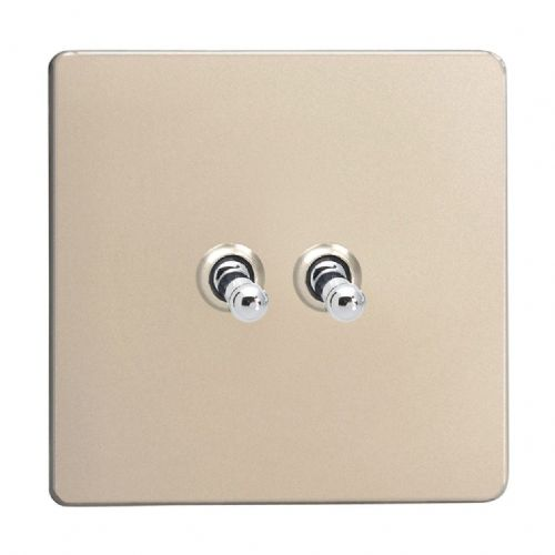 Varilight XDNT2S Screwless Satin Chrome 2 Gang 10A 1 or 2 Way Toggle Light Switch